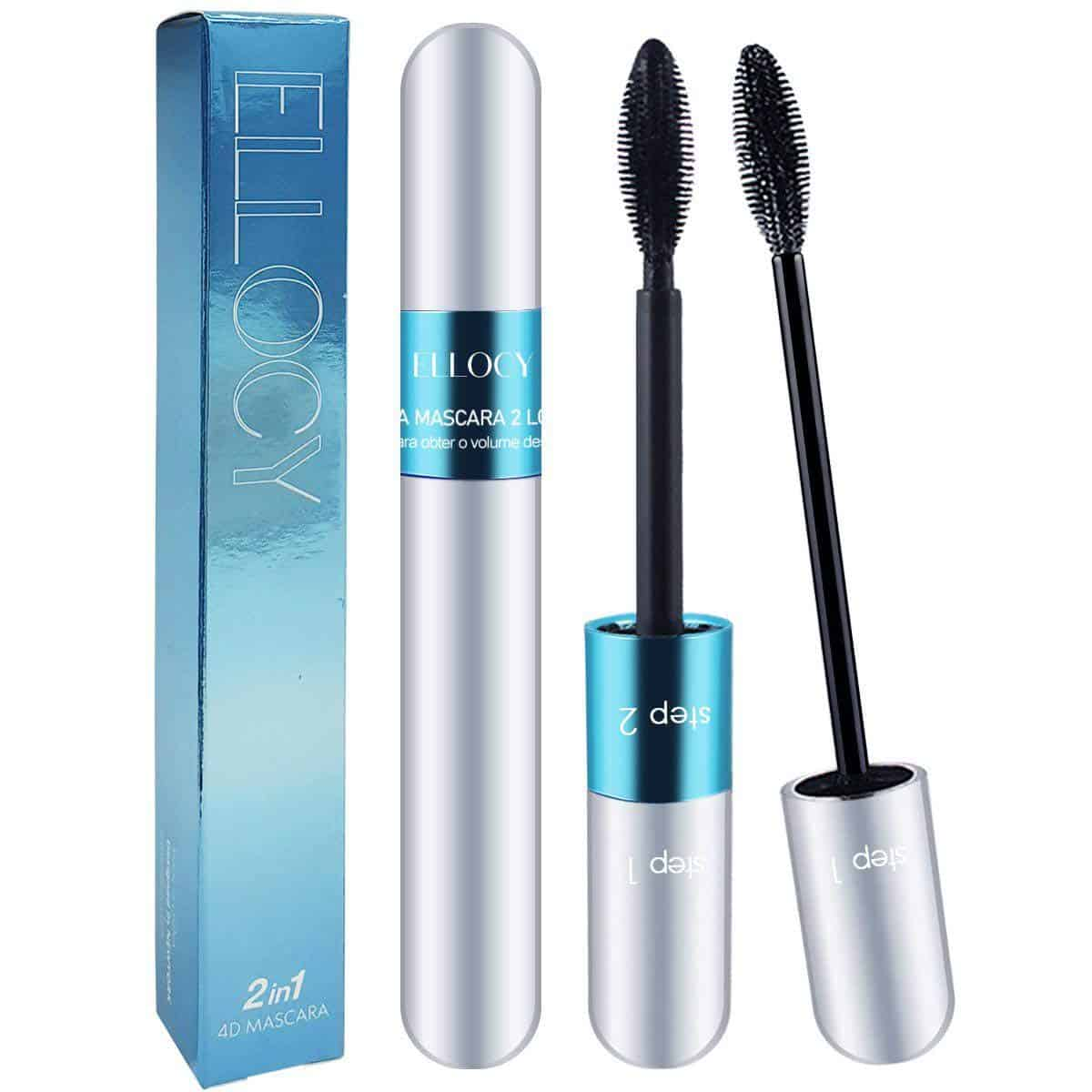 Ellocy 4D Silk Fiber Lash Mascara 2 in 1 Mascara for Natural and Voluminous Look Premium Thickening and Waterproof Mascara for Long Lasting Charming Eye Makeup