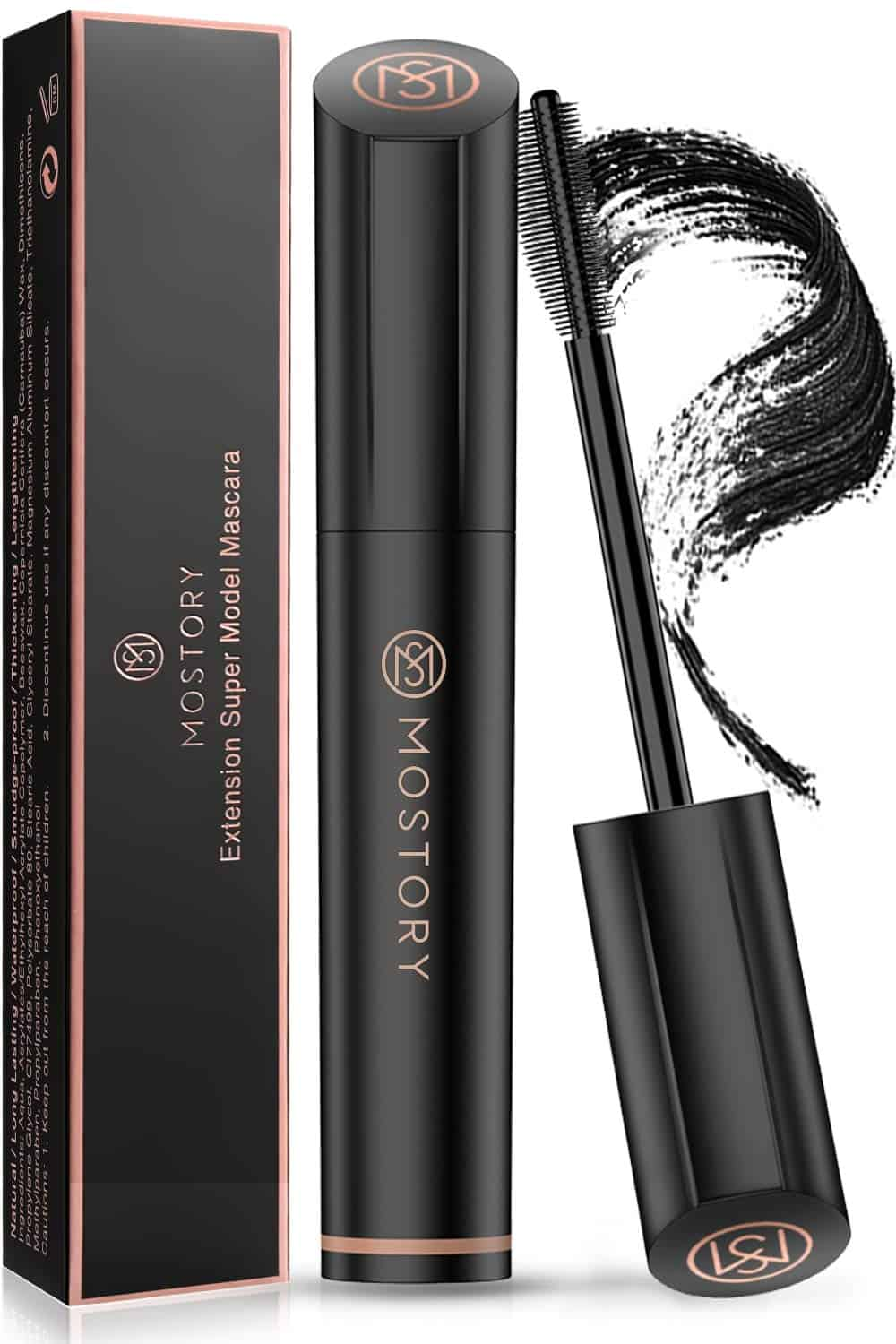 MOSTORY Black Lash Mascara 4D Silk Fiber Volume Waterproof Natural Extension Mascara Thickening Lengthening Voluminous Sweatproof Long Las
