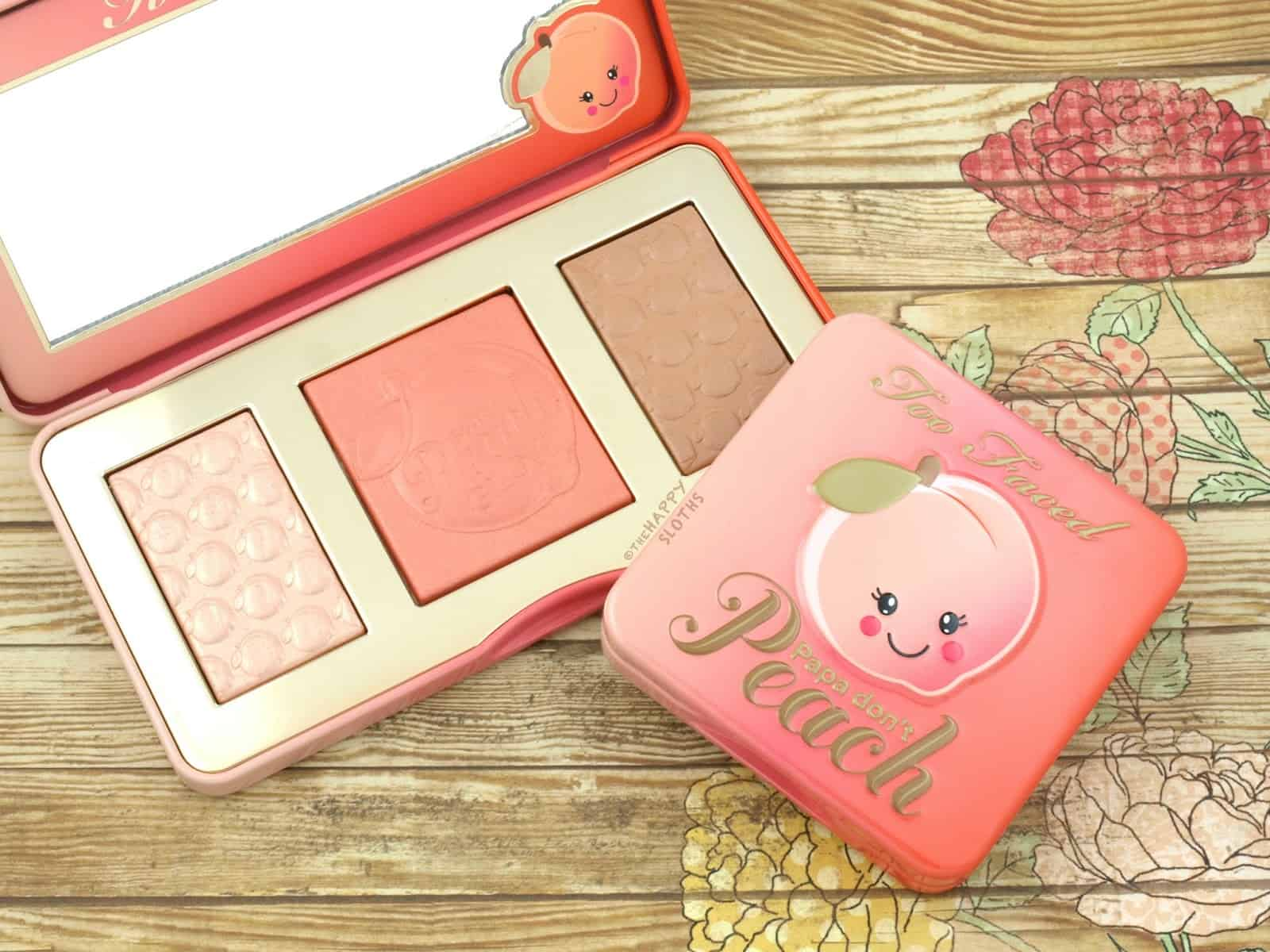too faced sweet peach papa dont peach blush highlighting palette swatches review
