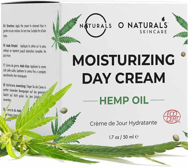 O Naturals Organic Face Moisturizer Hemp Oil Day Face Neck Anti Aging Cream